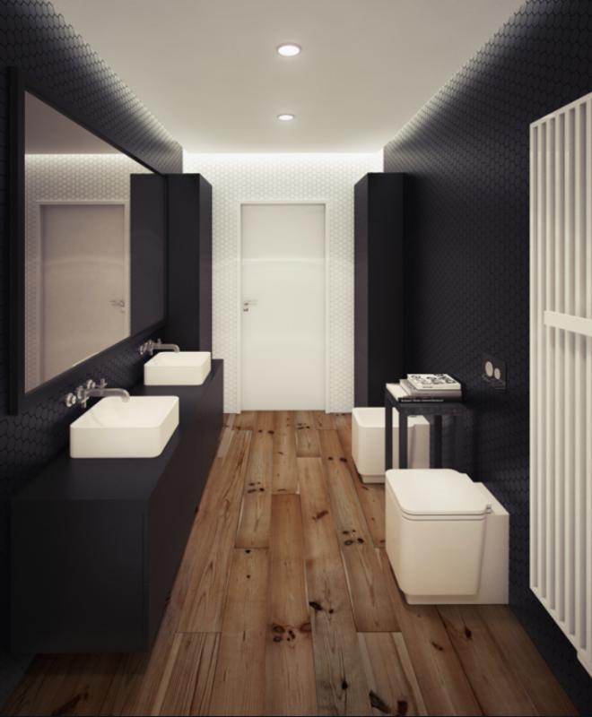Departamento tipo loft estilo minimalista por oskar firek for Decoracion minimalista para departamentos pequenos