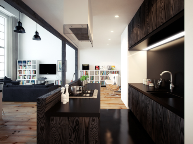 Departamento tipo loft estilo minimalista por oskar firek for Tipos de estilos de decoracion de interiores