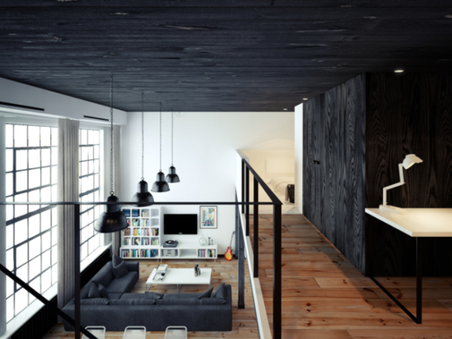 Departamento tipo loft estilo minimalista por oskar firek for Disenos de departamentos minimalistas
